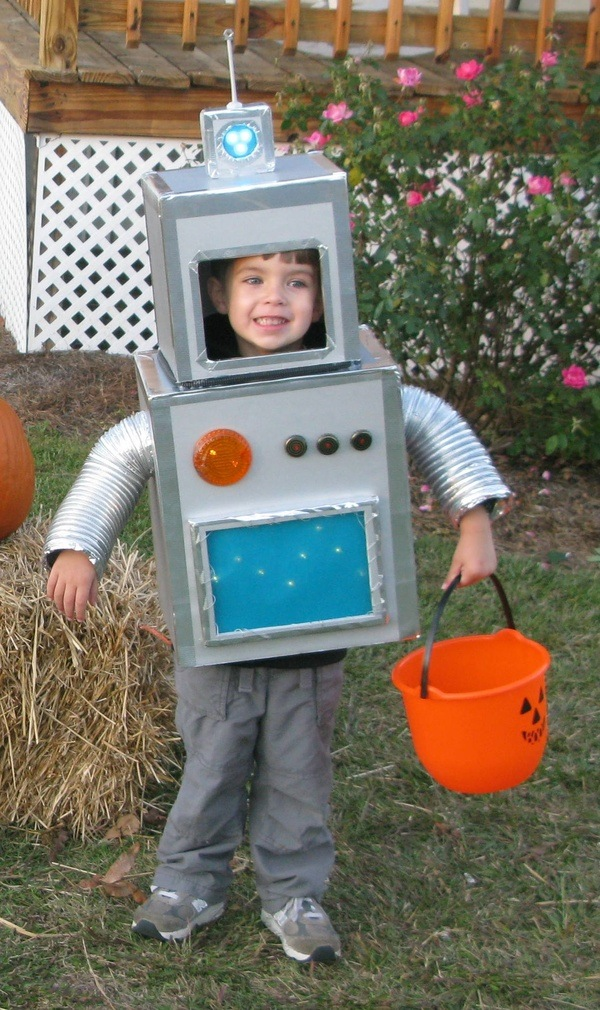 Three-year-old Roscoe Ange dressed as a robot. See more kid halloween costumes submitted by our readers here.